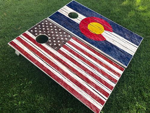 Rustic Plank American/CO Flag Cornhole Boards