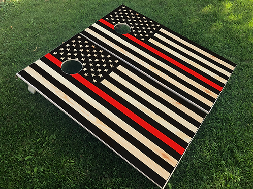 Red Line Flag Cornhole Boards