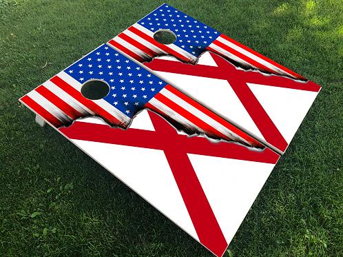 Alabama/American Split Flag Cornhole Boards