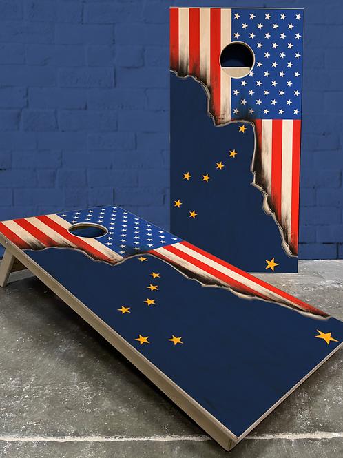 Alaska American Split Flag Cornhole Boards