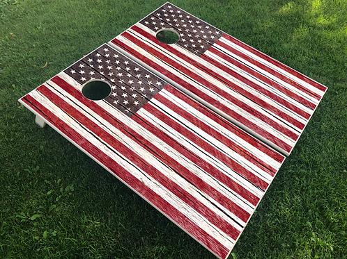 Rustic Plank American Flag Cornhole Boards