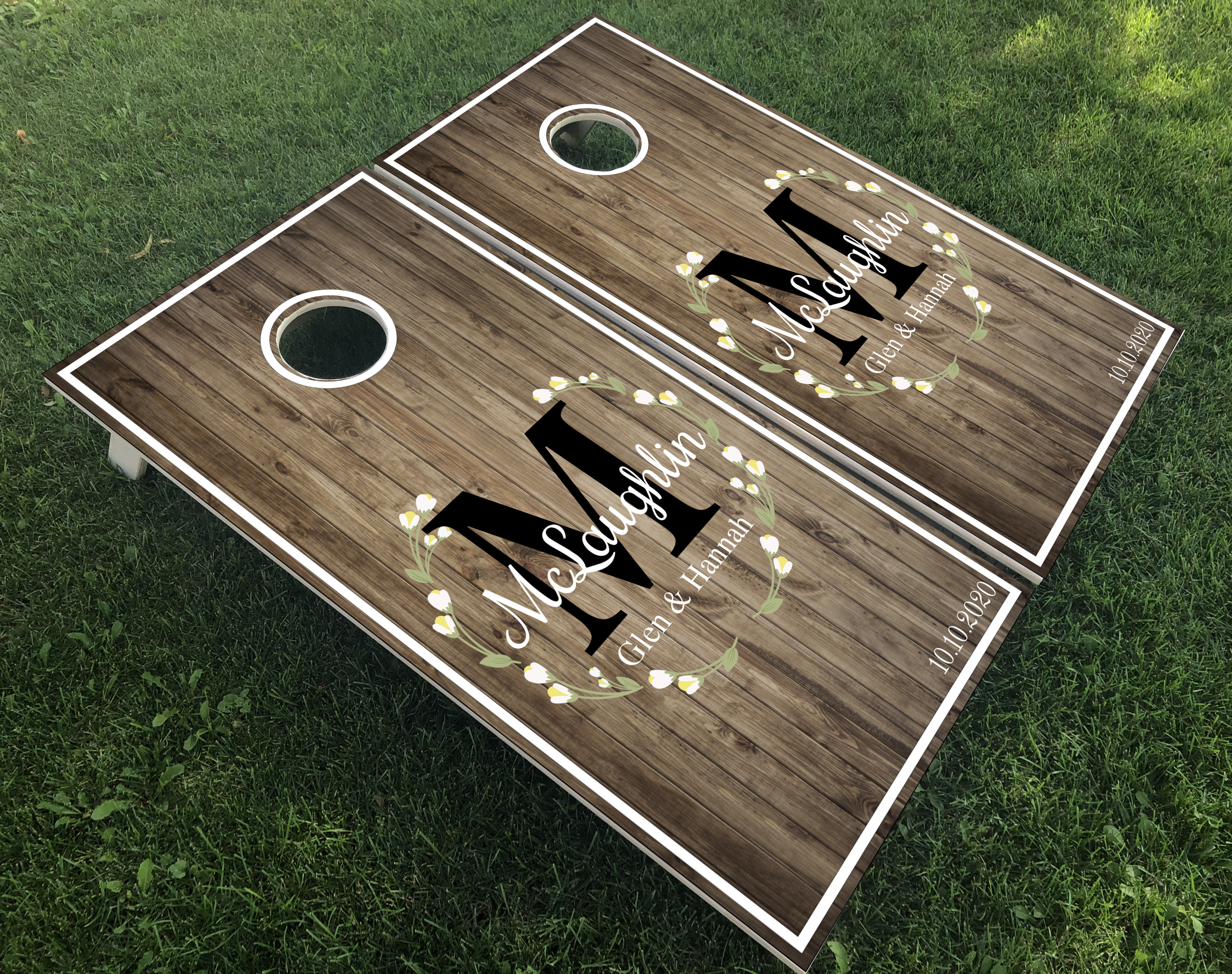 Laurel Wreath Wedding Monogram Cornhole Boards