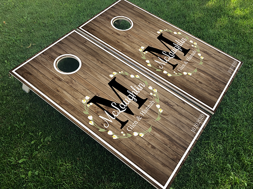 Laurel Wreath & Monogram Cornhole Boards