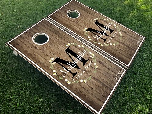 Laurel Wreath & Monogram Cornhole Boards