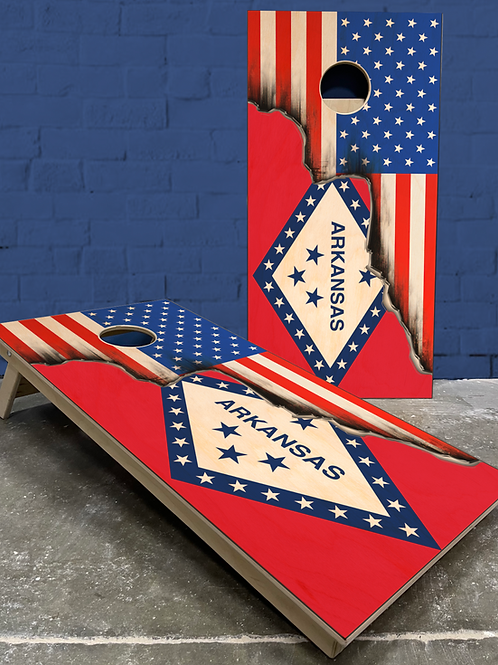 Arkansas American Split Flag Cornhole Boards