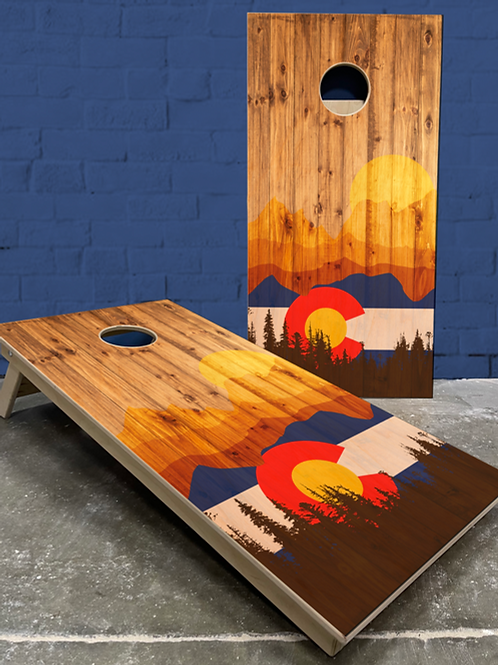 Colorado Wood Plank Cornhole Boards