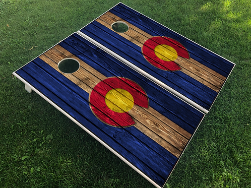 Colorado C (Yellow Center) Cornhole Boards