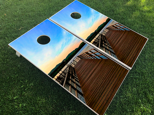 Lake Scene Cornhole Boards