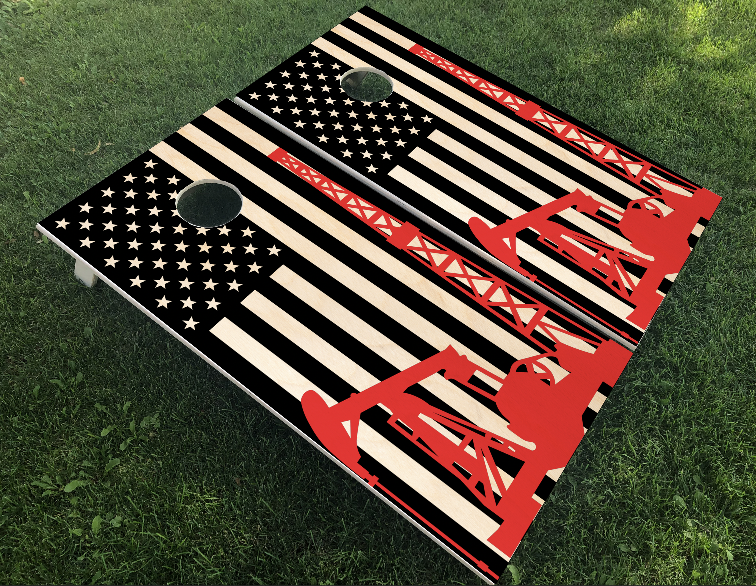 Oilfield Flag Cornhole Boards