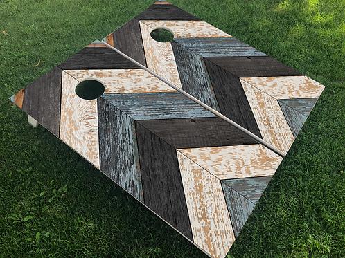 Rustic Blue Chevron Cornhole Boards