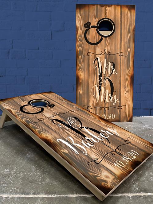 Rustic Ring Wedding Cornhole Boards
