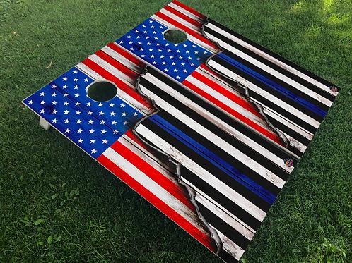Rustic American/Thin Blue Line Split Flag Cornhole Boards