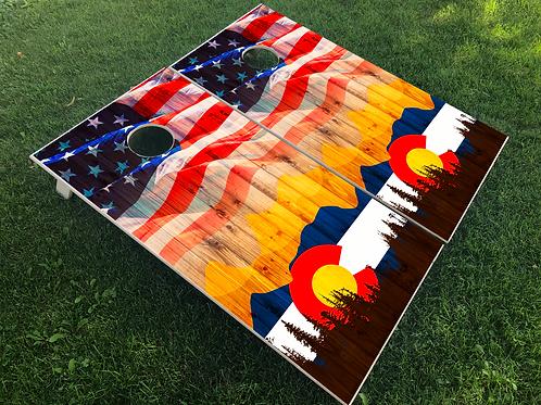 Colorado with American Flag Cornhole Boards