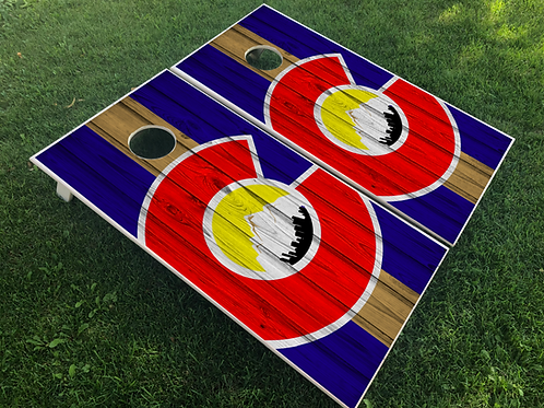 Stripe Big C Cornhole Boards