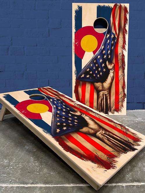 Tattered CO/AM Flag Cornhole Boards