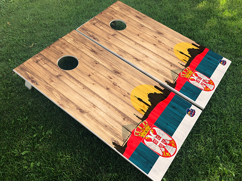 Serbia Wood Plank Cornhole Boards