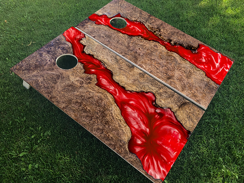 Red Epoxy Inlay Cornhole Boards