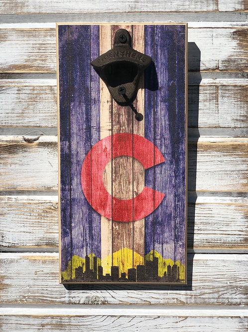 Colorado Flag with Skyline Bottle Opener