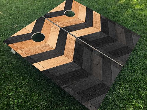 Raw & Black Chevron Cornhole Boards
