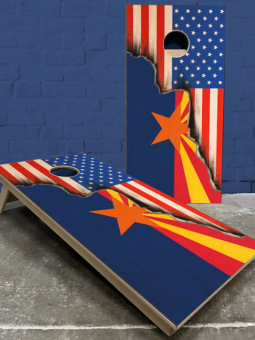 Arizona American Split Flag Cornhole Boards