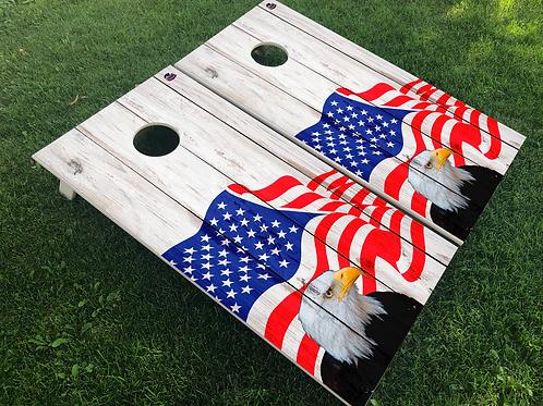 Patriotic Eagle with Flag Cornhole Boards