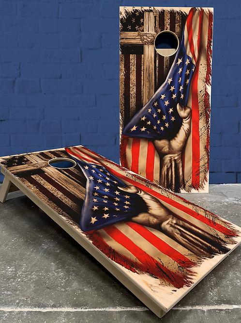 Cross and American Flag Cornhole Boards