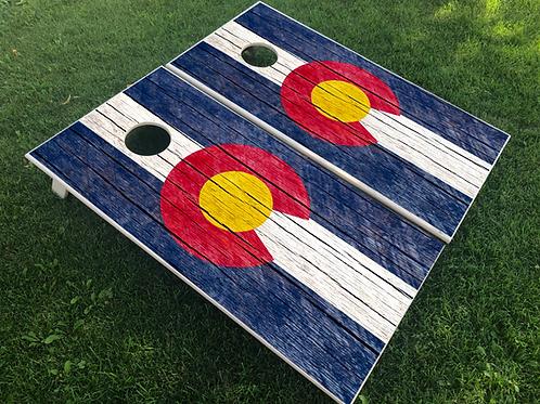 Rustic Plank CO Flag Cornhole Boards