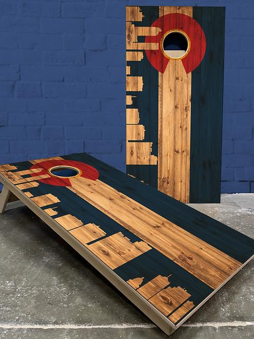 Denver Skyline Wood Plank Cornhole Boards