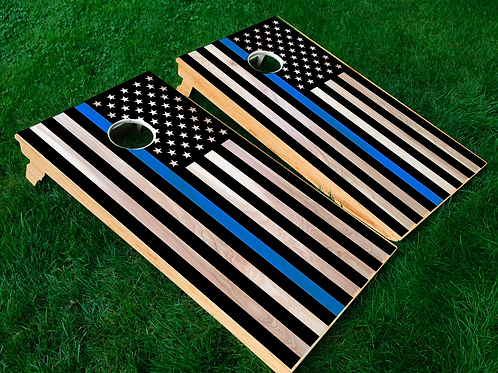 Blue Line Flag Cornhole Boards