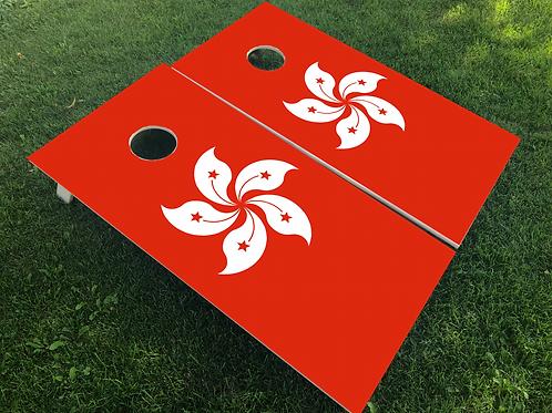 Hong Kong Flag Cornhole Boards