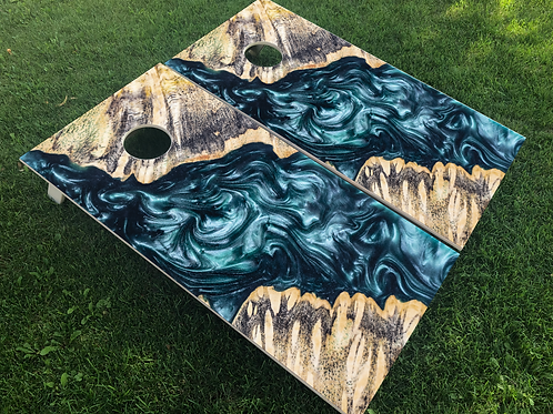Blue Tide Inlay Cornhole Boards