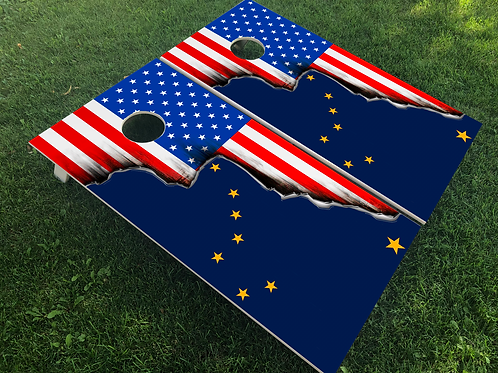 Alaska American Split Flag Cornhole Boards