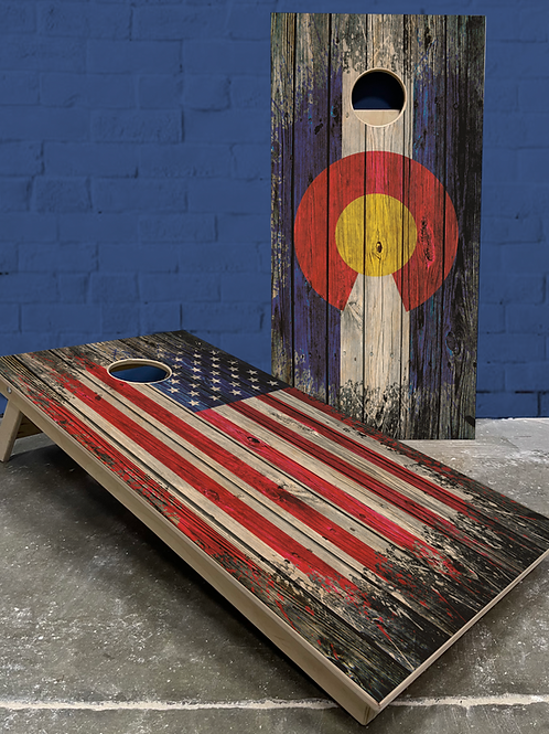 Rustic Splat CO/Am Flag Cornhole Boards