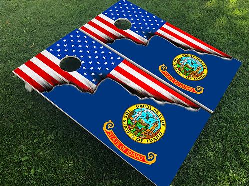 Idaho American Split Flag Cornhole Boards