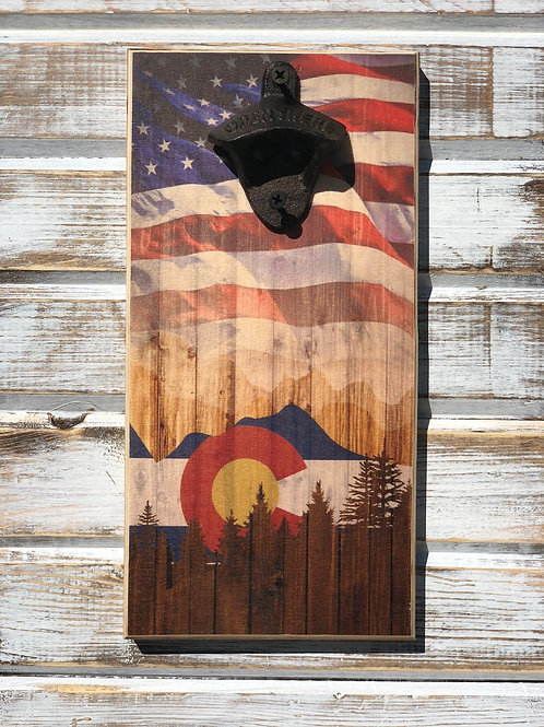 Colorado with American Flag Bottle Opener