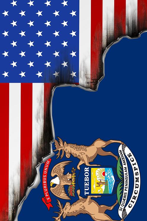 American/Michigan Split Flag Cornhole Boards