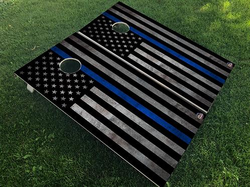 Metal Thin Blue Line Flag Cornhole Boards