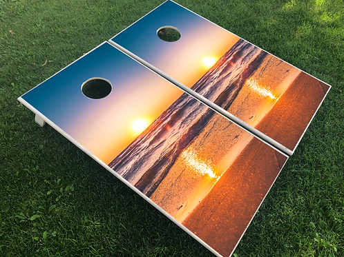 Beach Sunset Cornhole Boards