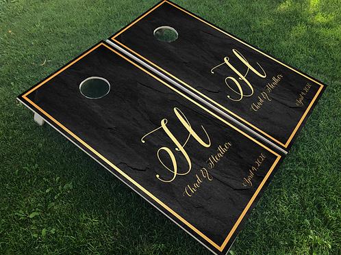 Gold and Slate Wedding Monogram Cornhole Boards