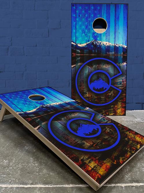 Colorado Blue Flag Cornhole Boards