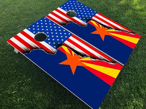 Arizona American Split Flag Cornhole Boards