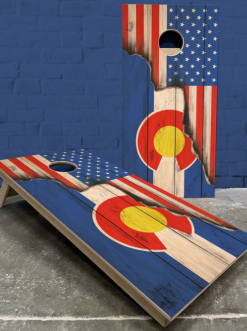 Rustic American/Colorado Split Flag Cornhole Boards