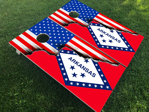 Arkansas American Split Flag Cornhole Boards