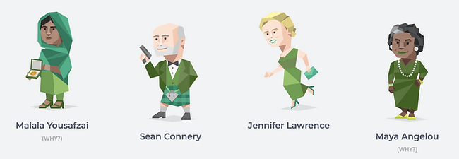 ENFJ image from 16personalities website showings malala yousafzai, sean connery, jennifer lawrence and maya angelou as other protagonist ENFJs