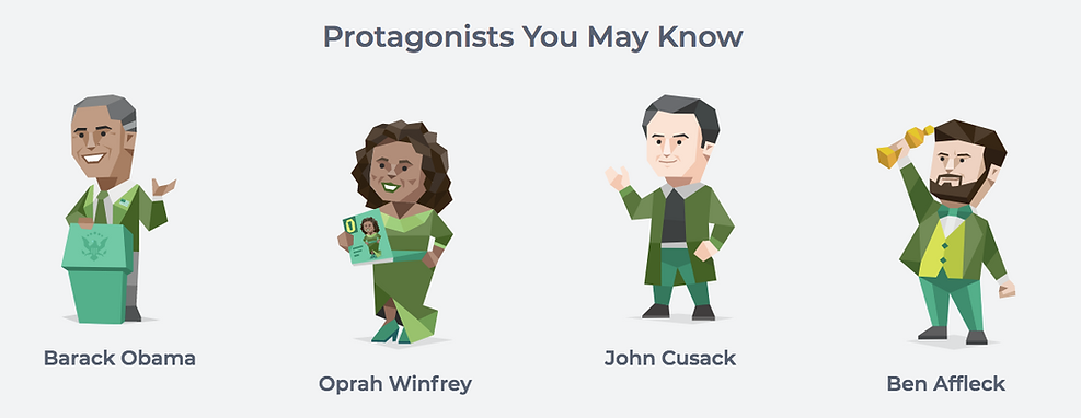 Graphic from 16personalities.com website showing protagonists (ENFJs) you may know. Barack obama, oprah winfrey, john cusack and ben affleck