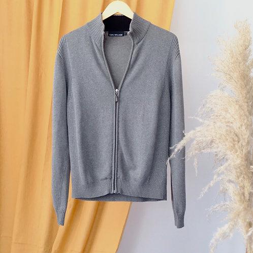 Šedý svetr na zip - S
