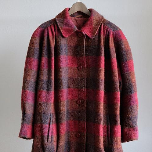 Kostkovaný vlněný kabát - XXL/Oversized