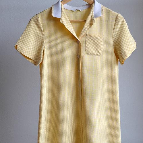 Žluté retro šaty s límečkem - 12y / XS