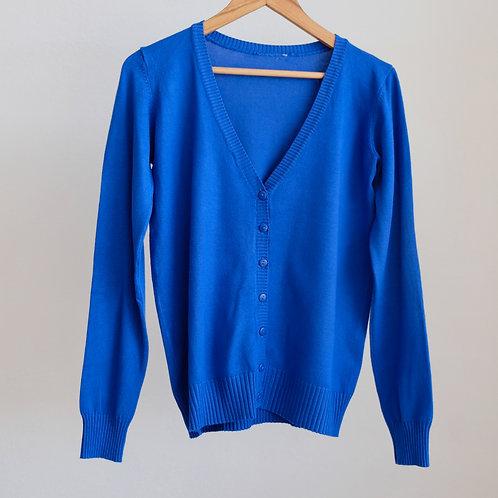 Královsky modrý propínací svetr - M