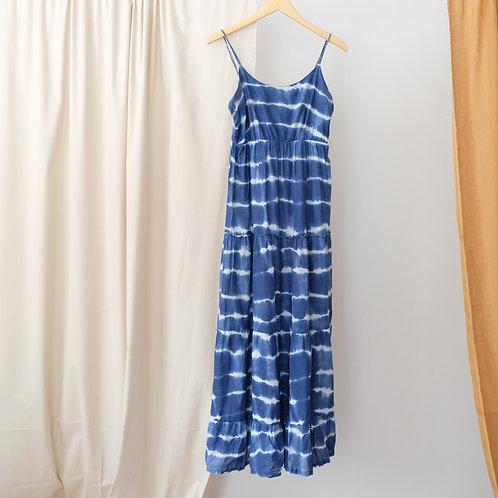 Modré dlouhé šaty - M